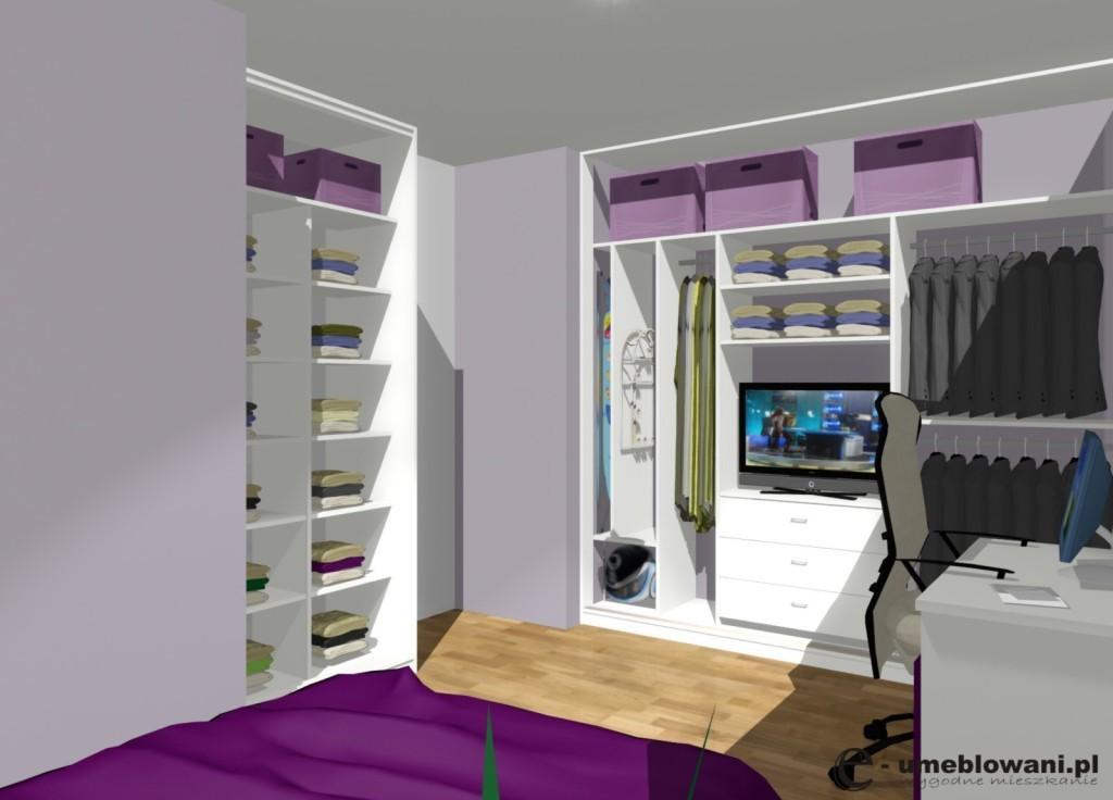 sypialnia, Szafa, telewizor w szafie, biała, szuflady, odkurzacz, deska do prasowania
