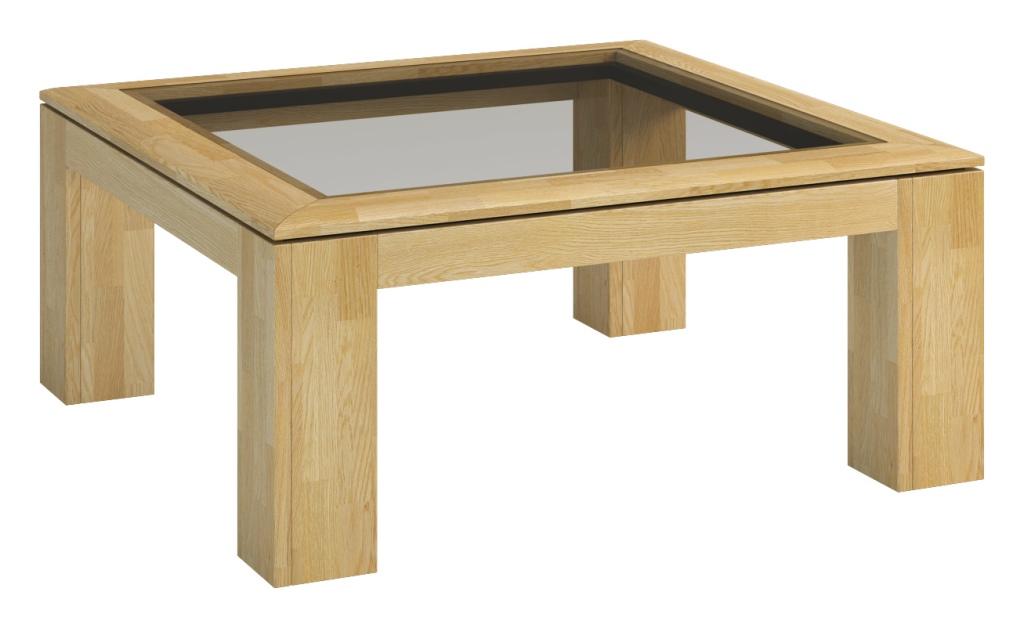 Stolik z blatem przeszklonym Rossano, drewniany, szyba, nowoczesny