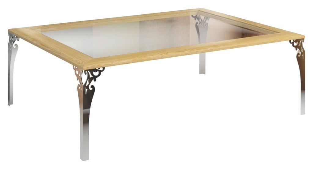 Stolik z blatem przeszklonym Bonita, stolik kawowy stylizowany, stolik kawowy szklany blat
