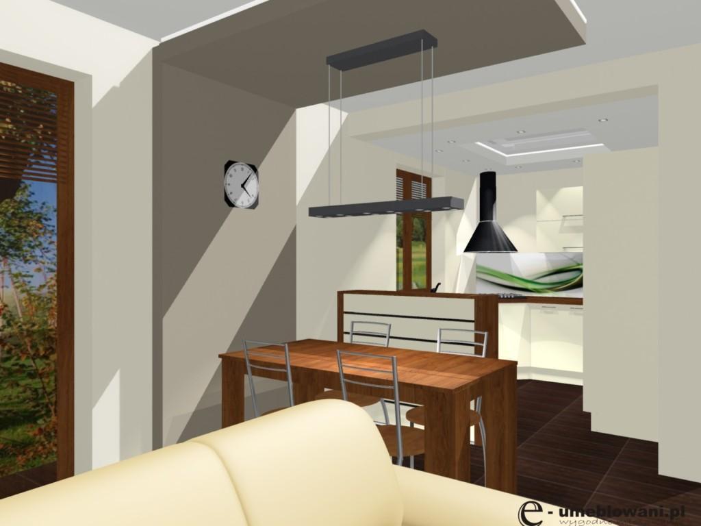 salon z jadalnią, kuchnia otwarta, fronty wanilia, blaty drewniane, okna dąb złoty