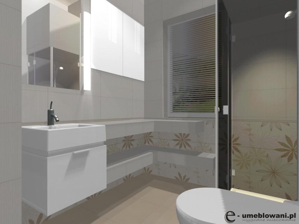 Łazienka, brąz, beż, szafka białą koło, półki z płytek
