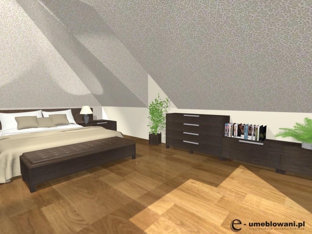 sypialnia na poddaszu projekt, komody, toaletka