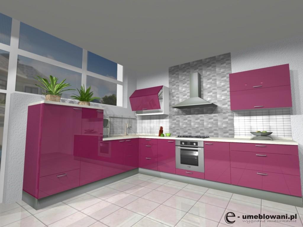 kuchnia, meble kuchenne, fronty połysk, płytki na podłodze, panele na ścianie