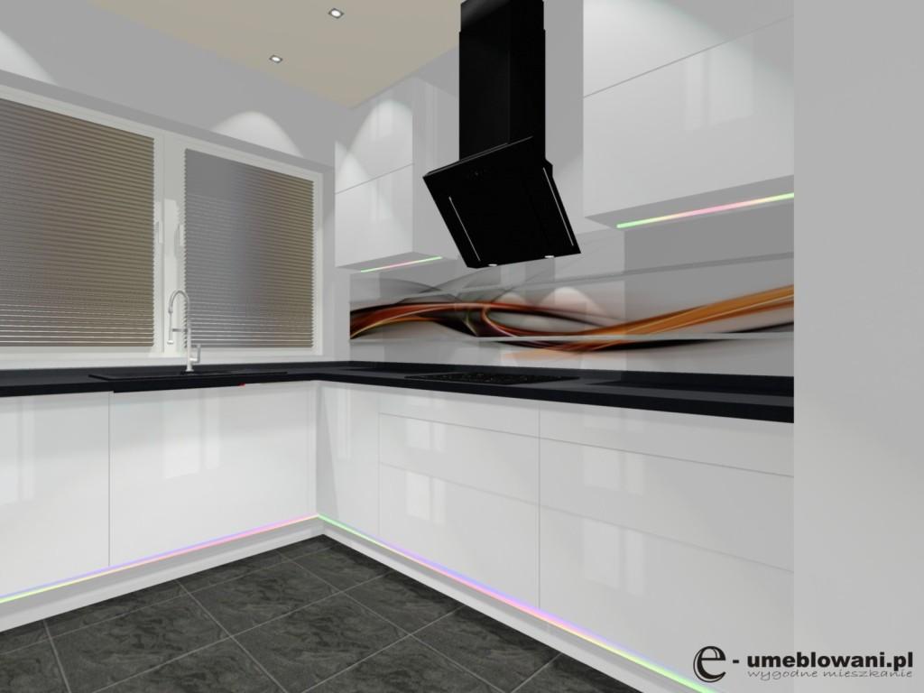 kuchnia, szafki kuchenne bez uchytów, fototapeta na ścianie, fronty biały połysk