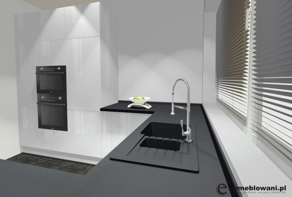 kuchnia, fronty kuchenne bez uchytów, zlewozmywak 1,5 komory, piekarnik w zabudowie, listwa przyścienna