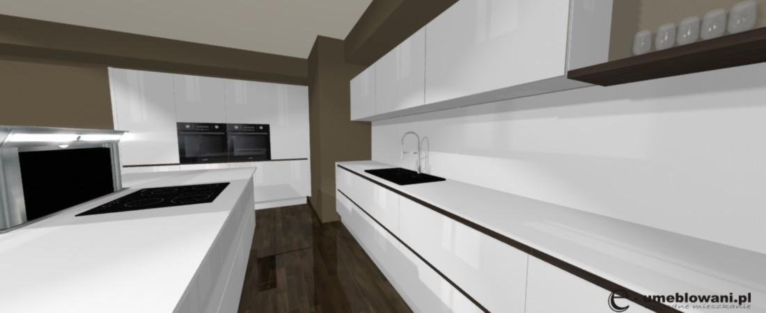 kuchnia biała, wyspa kuchenna, szkło na scianie, podłoga drewniana