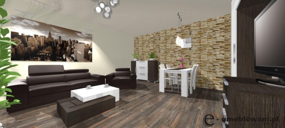 salon, sofa, fotel, klinkier, żyrandol, stół biały, krzesła