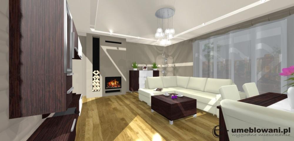 salon, projektowanie salonu, kominek, komoda, podłoga Barlinek, stolik, stół