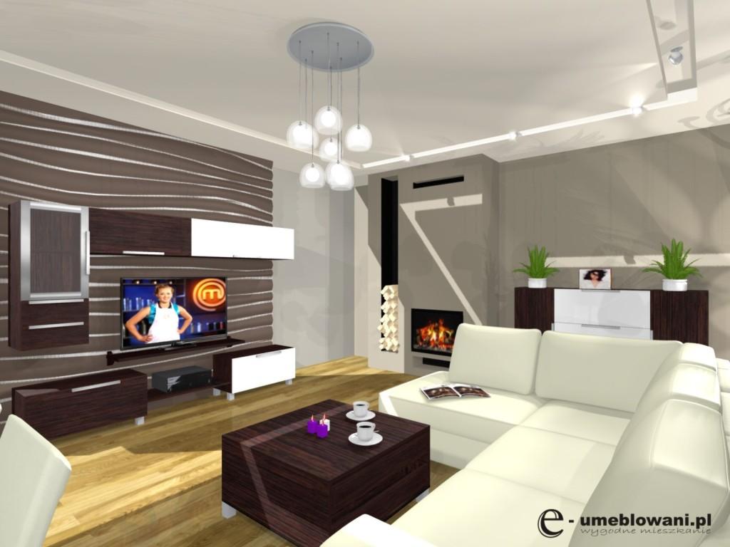 Salon – pomysły na sufit i oświetlenie w salonie -> Sufit Kuchnia Salon