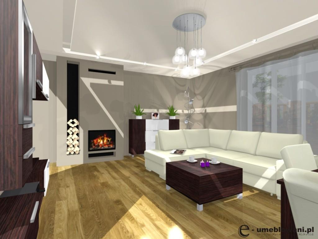 Salon, Żyrandol, kominek, komoda, stolik kawowy, tynk dekoracyjny