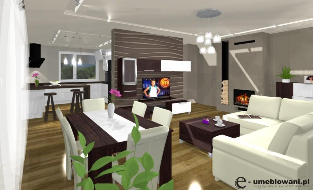 wnętrze brąz, biały, salon, kuchnia, żyrandol, stolik kawowy, stół, jadalnia