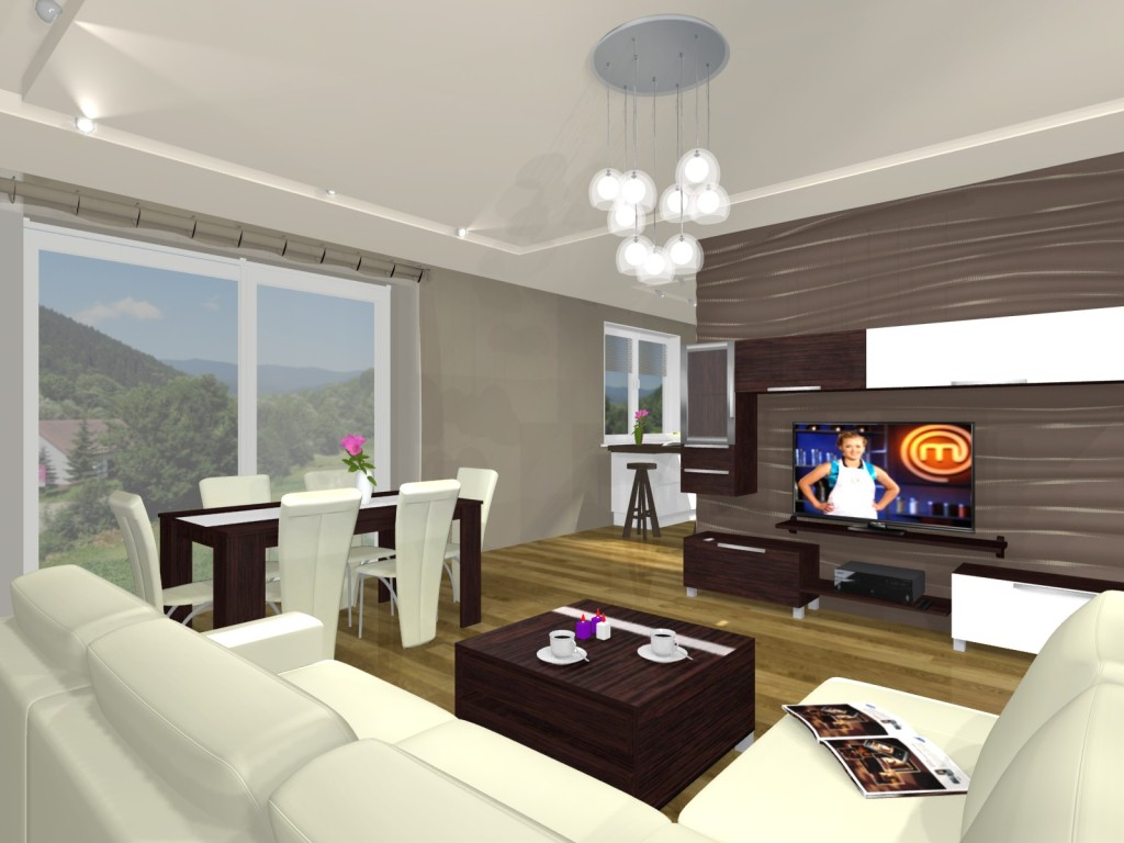 salon, narożnik beż, ściana z telewizorem, stół, stolik kawowy drewno