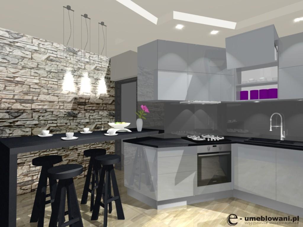 Szara kuchnia, czarne blaty, hokery, barek