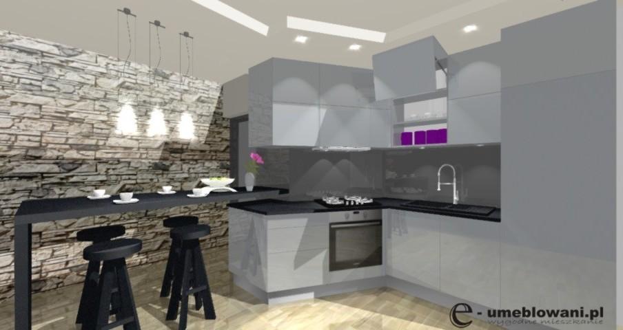 meble kuchenne, szare, podłoga drewniana, klinkier na ścianie