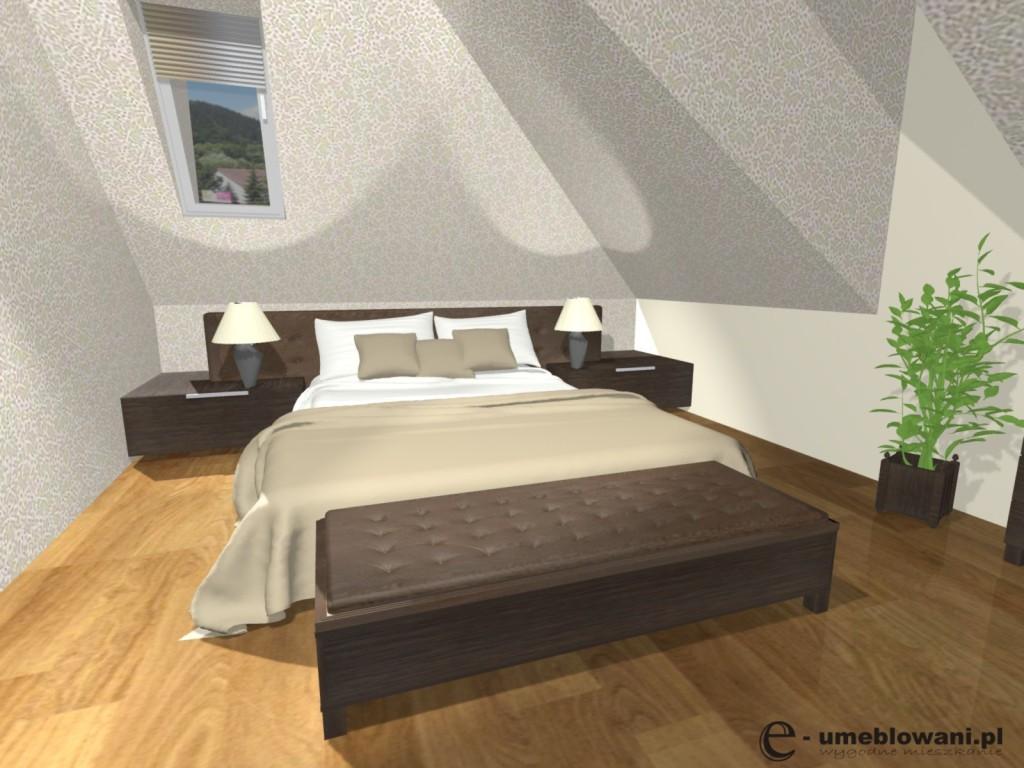 sypialnia, tapeta, łóżko, szafki nocne drewniane
