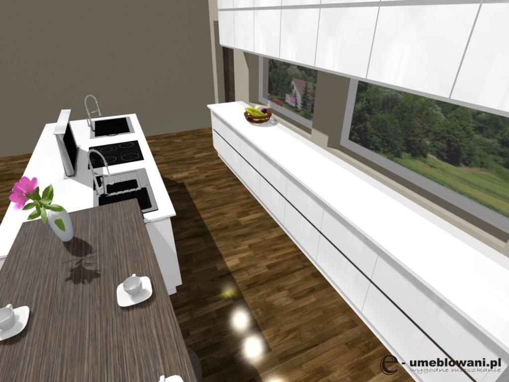 kuchnia, Wyspa kuchenna, biała kuchnia, okno panoramiczne