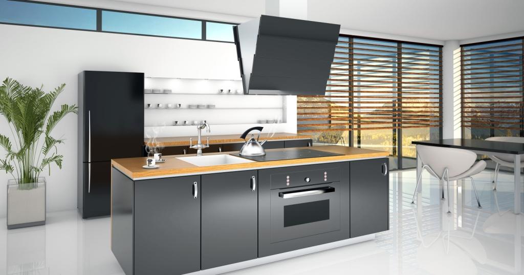 kuchnia, czarna lodówka, wyspa czarna, blat drewno Aranżacja Citro X W Ciarko Design