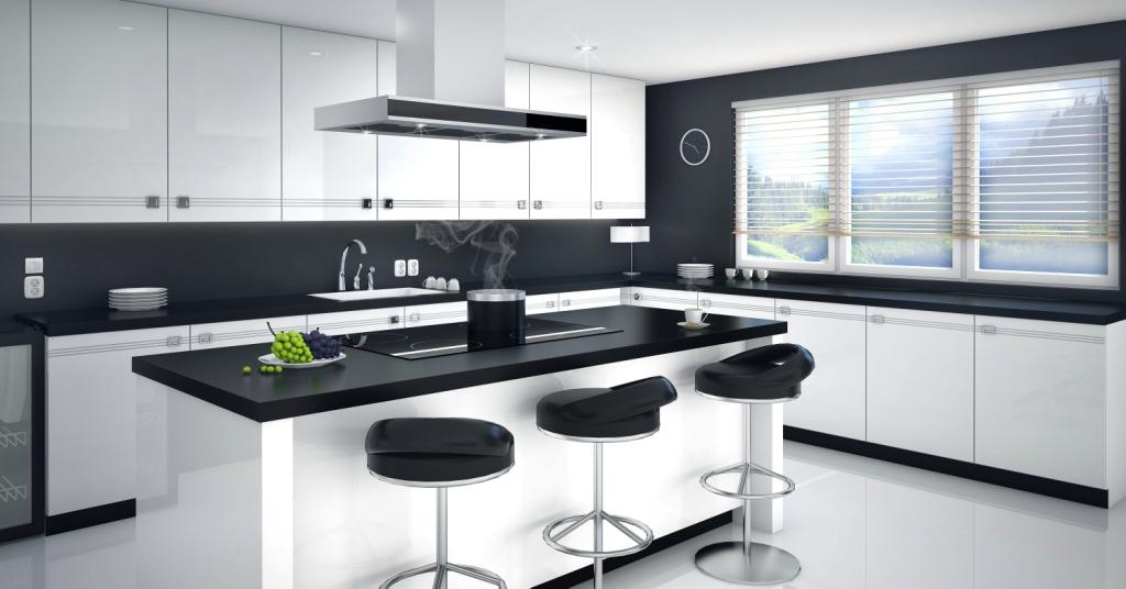 kuchnia biała, czarna, wyspa kuchenna, hokeryT-Line 10 W Ciarko Design