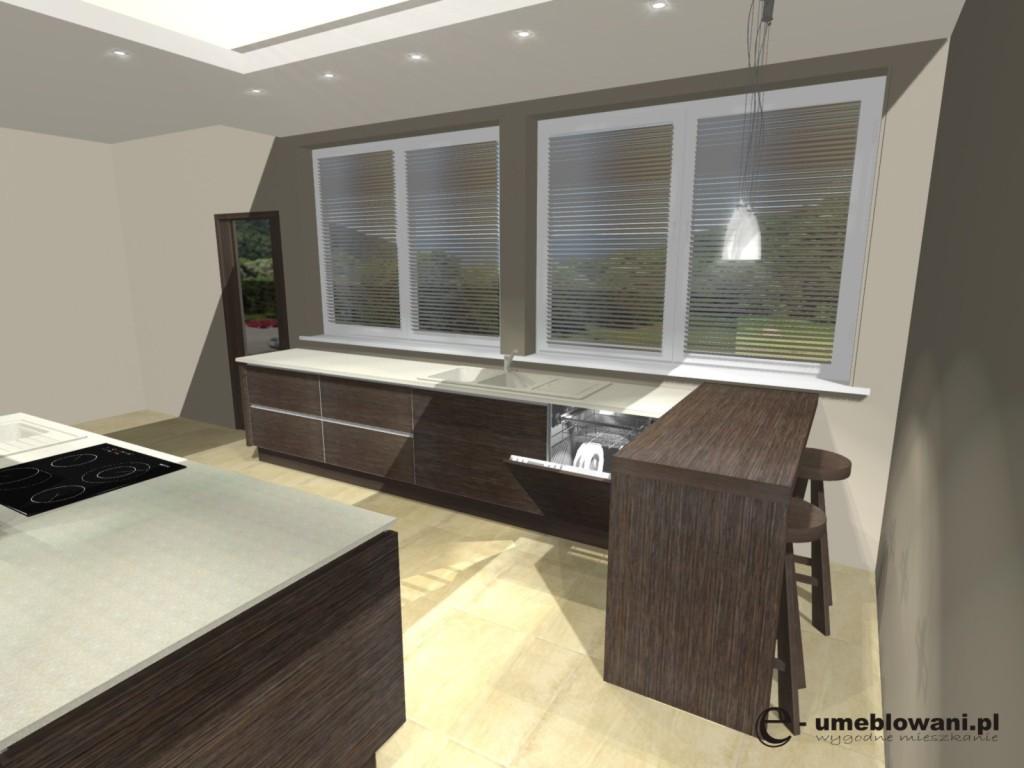 kuchnia, wyspa, barek, dwa okna, drewno, blat kamienny