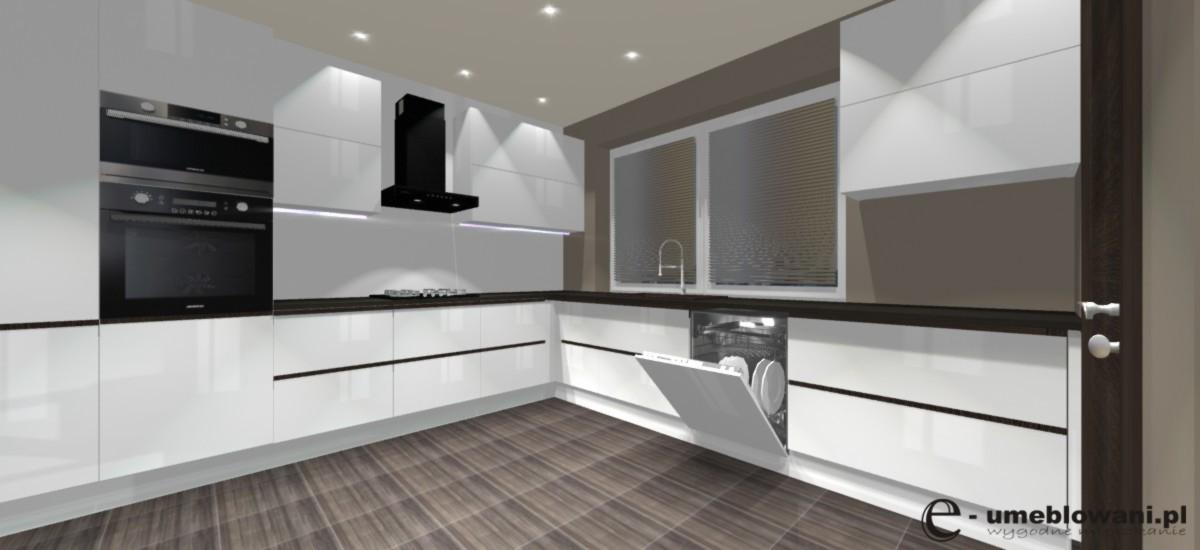 biała kuchnia, zmywarka, okap wertykalny  Projekty i aranżacje wnętrz -> Kuchnia Z Okapem Kominowym