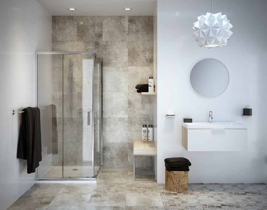 łazienka biała, prysznic, Cersanit_BRISTO