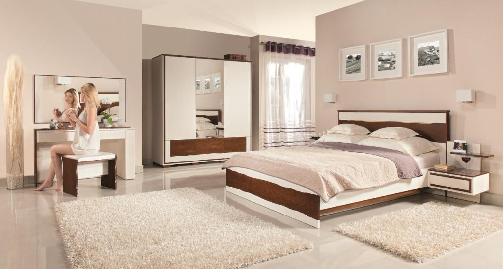 MEBIN, Flamenco, Sypialnia szafa z lustrem, łóżko, toaletka, szafki nocne