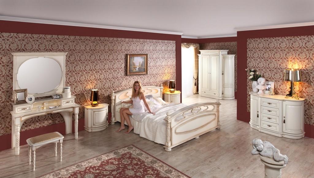 MEBIN, Opium, Sypialnia biała, łóżko, komoda, tapeta, dywan, toaletka
