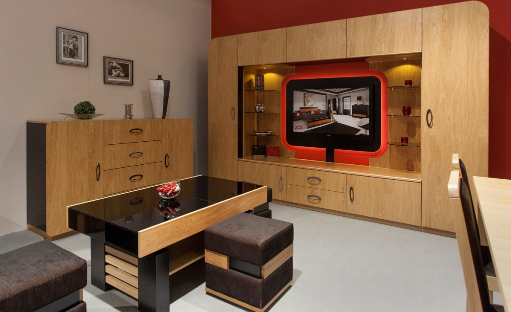 salon, telewizor, Mebin Mebloscianka Oki