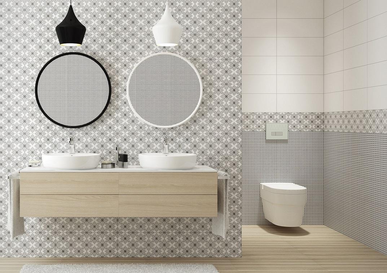 łazienka biało-czarna, drewno, Opoczno_Black&White