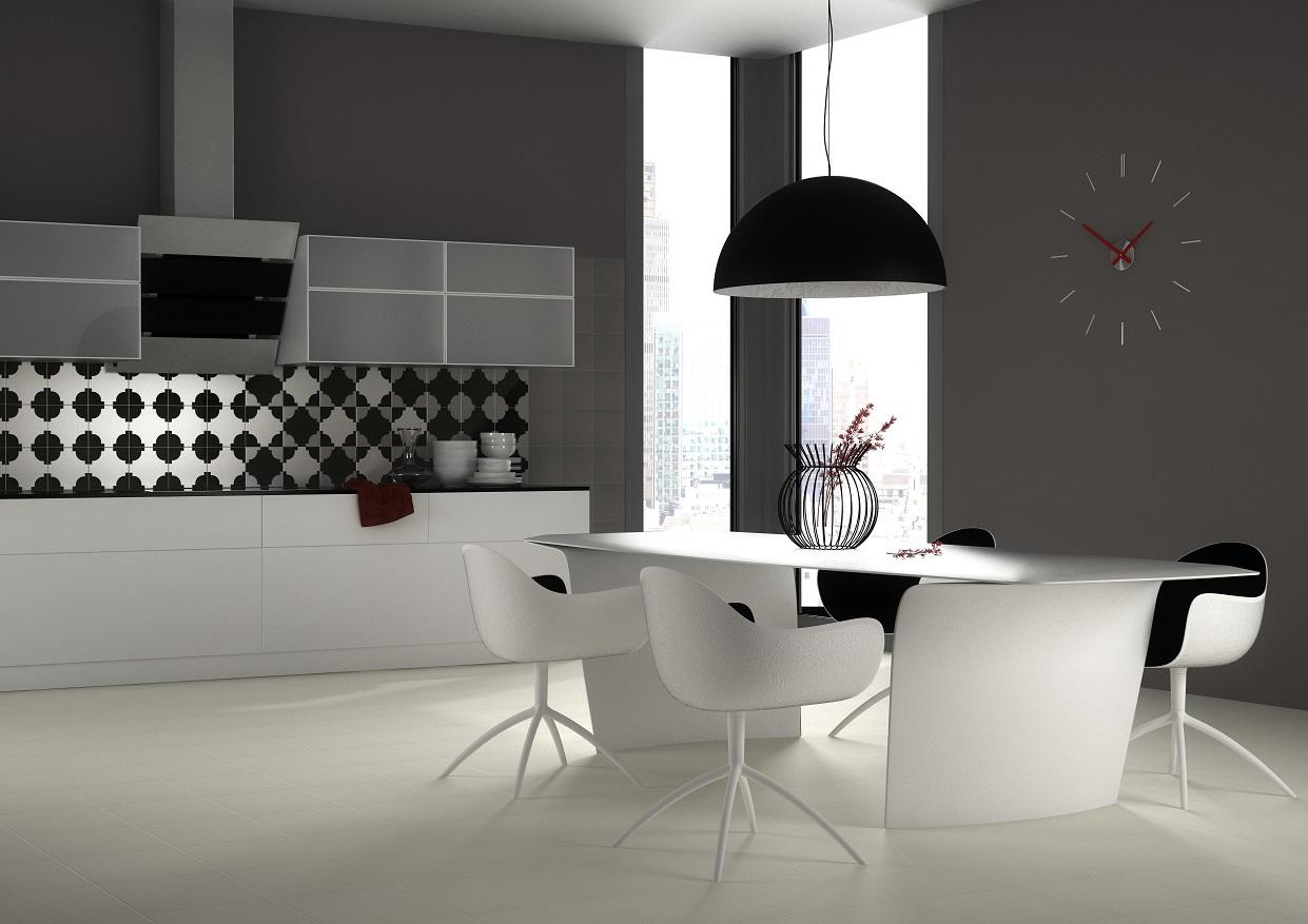 kuchnia, biała, czarna,stół,Opoczno_Colour Connection