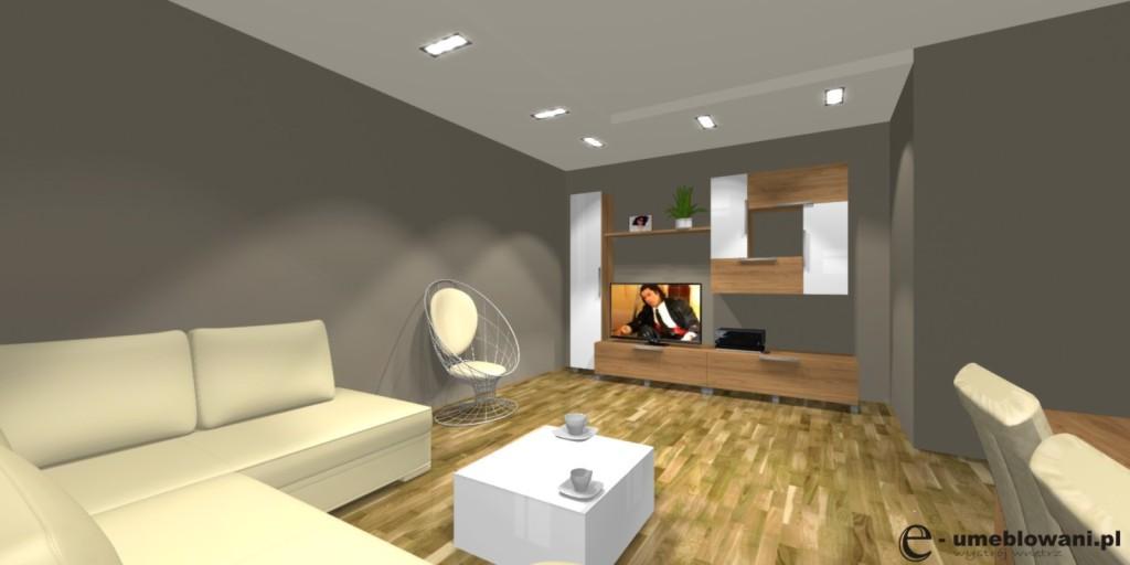 Salon, nowoczesna meblościanka, stolik kawowy