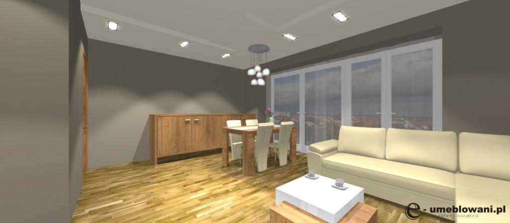 Aranżacja salonu, komoda drewniana, stół brą, stolik kawowy