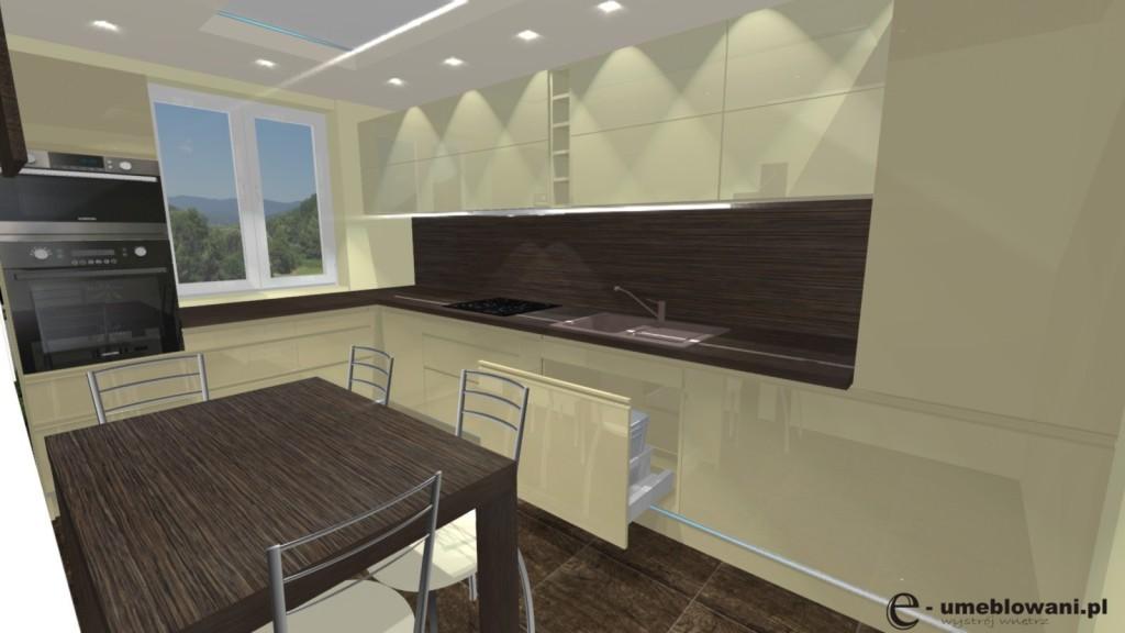 Kuchnia nowoczesna, capucino, stół, krzesła