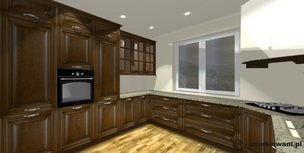 Kuchnia klasyczna, dąb, jedno okno