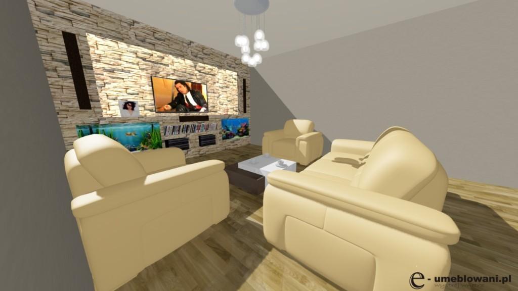 Salon, ściana z TV, kamień ozdobny, akwaria