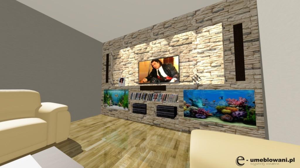Salon, sofa, fotele, ściana z Tv, klinkier, kamień dekoracyjny, akwaria