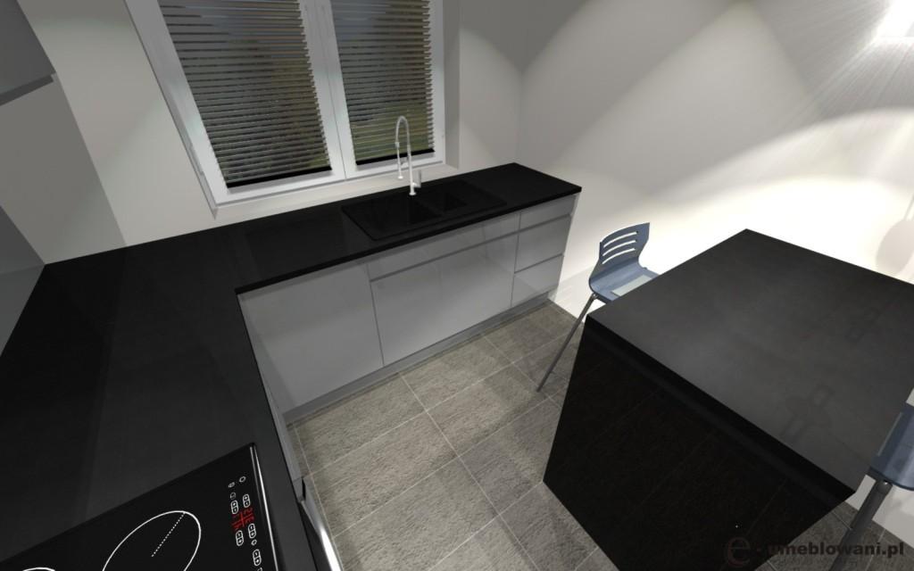 Kuchnia szara, czarny blat, szare płytki na podłodze, stół