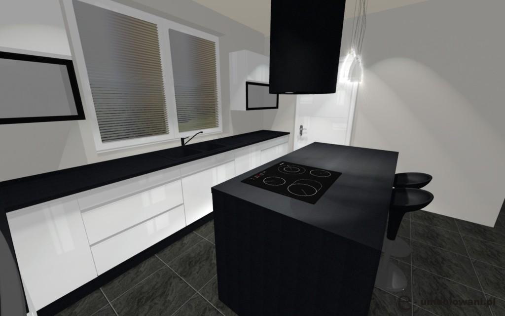 kuchnia biała, czarna, wyspa kuchenna, płytki na podłodze szare, jedno okno