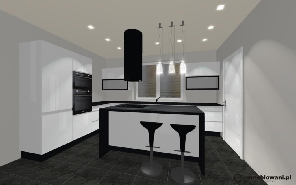 Kuchnia biała, czarne blaty, wyspa kuchenna biała, podłoga płytki grafitowe