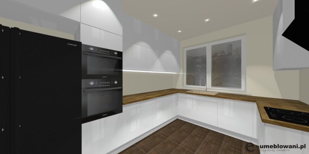 biała kuchnia, światło, drewniany blat