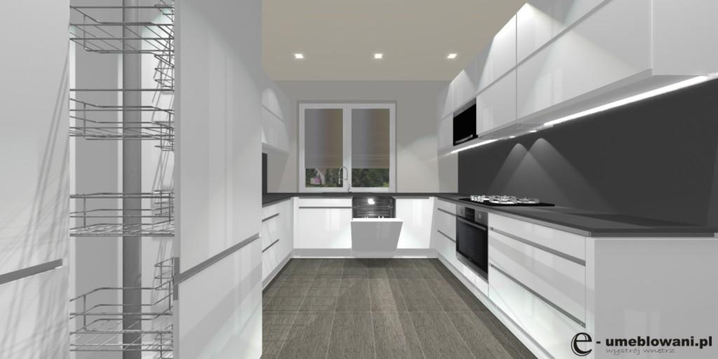 Oświetlenie w kuchni, biała kuchnia, płytki szare