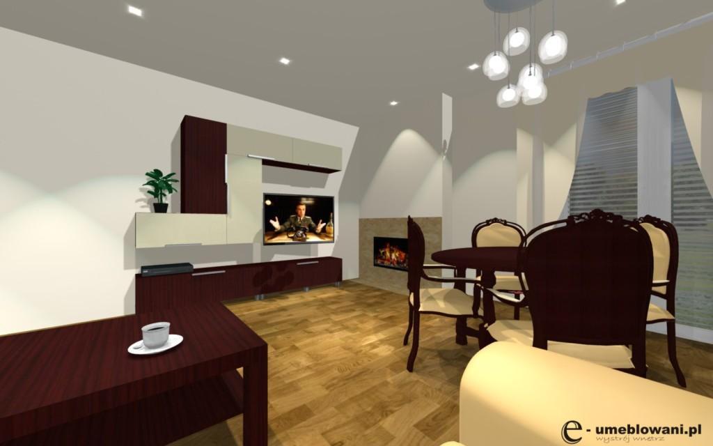 salon stolik kawowy kominek mebloscianka