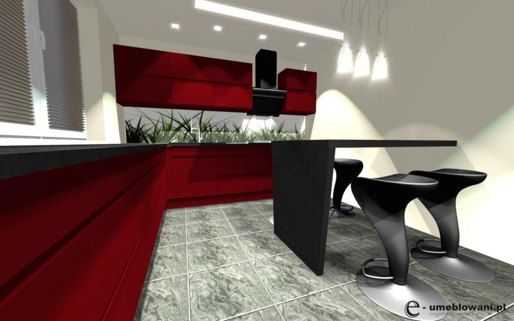Czerwona kuchnia z półwyspem, fototapeta na ścianie trawa, płytki na podłodze szare