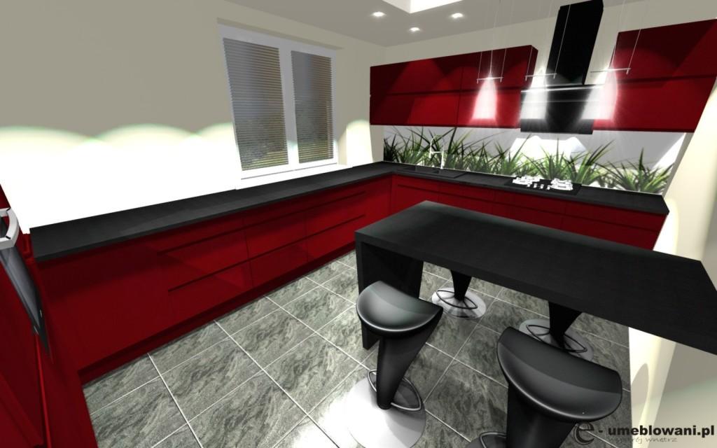 Kuchnia czerwona z jednym oknem, półwysep, fototapeta na szkle, hokery