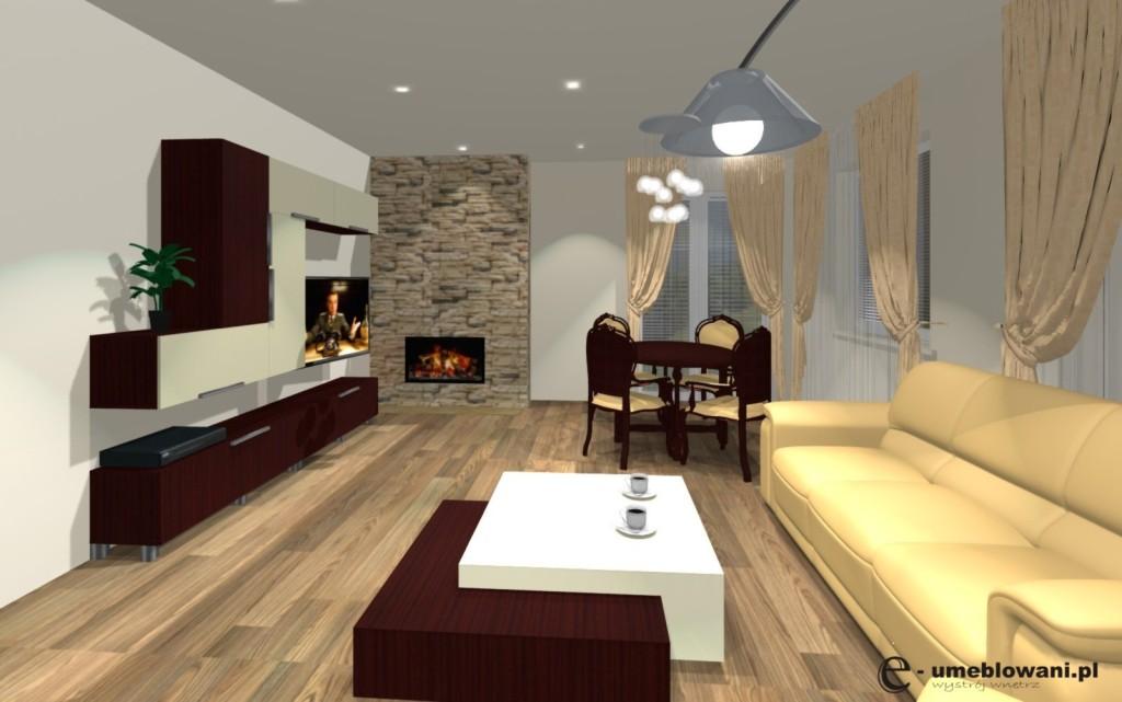 salon, kamień ozdobny, kominek, stolik kawowy, stół, kanapy