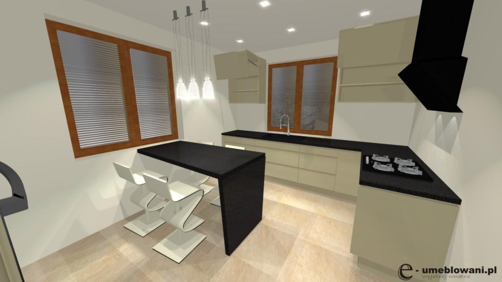 Kuchnia wanilia, aranzacja kuchni wanilia połysk, barek, dwa okna