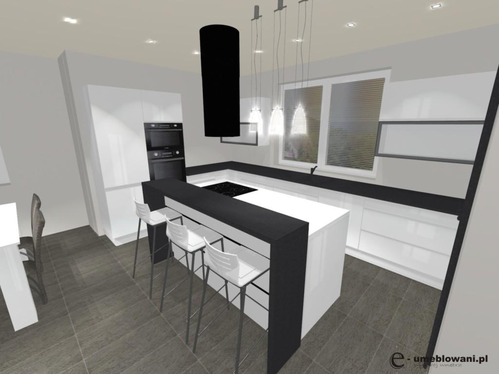 biała kuchnia z wyspą, czarne blaty, okap wyspowy, jedno okno, siwa podłoga płytki