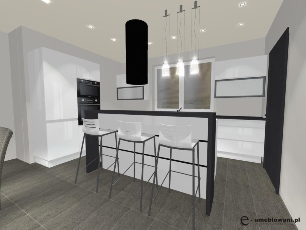 biała kuchnia z wyspą_hokery, jedno okno, płytki szare, okap wyspowy