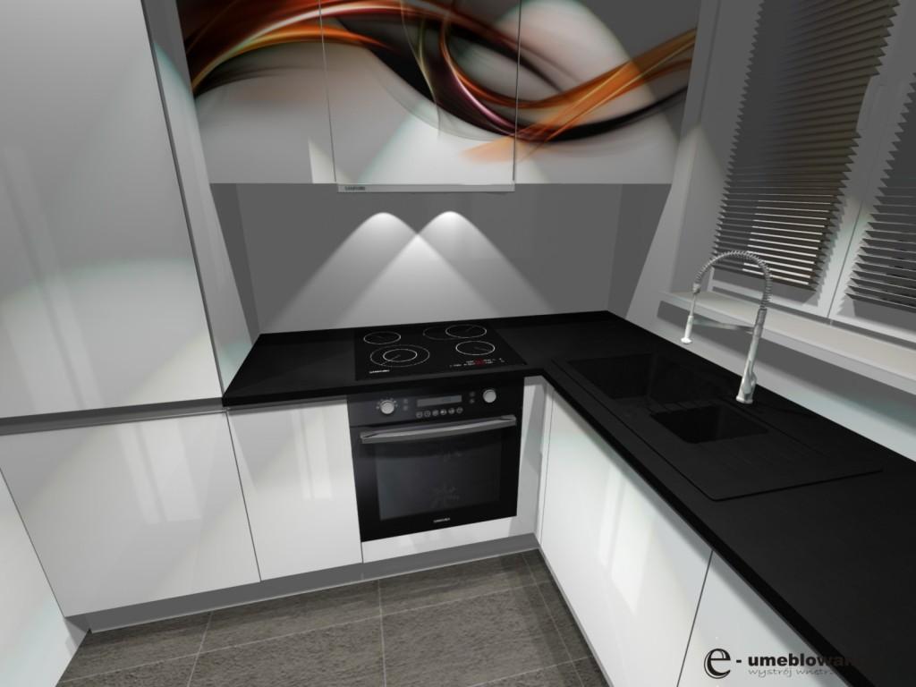 biała kuchnia_fronty_białe_fornty_z grafika, zare płytki na podłodze