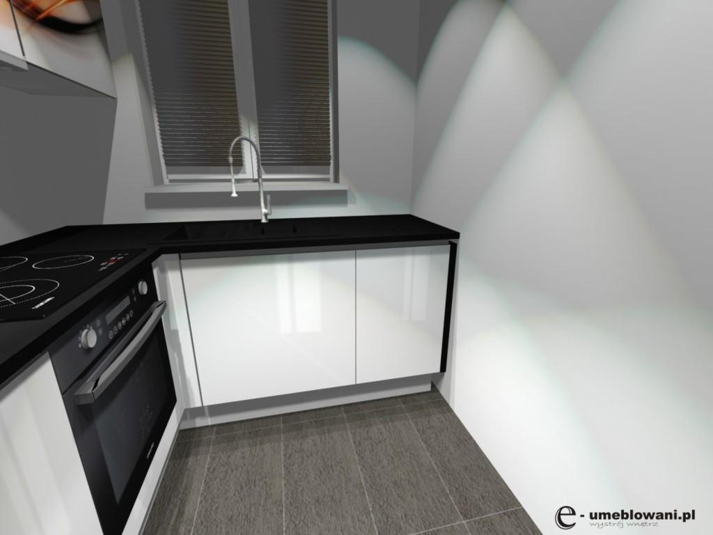 kuchnia biały połysk, zlew pod oknem